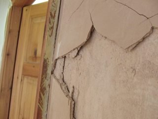 There is a small bit with large cracks
