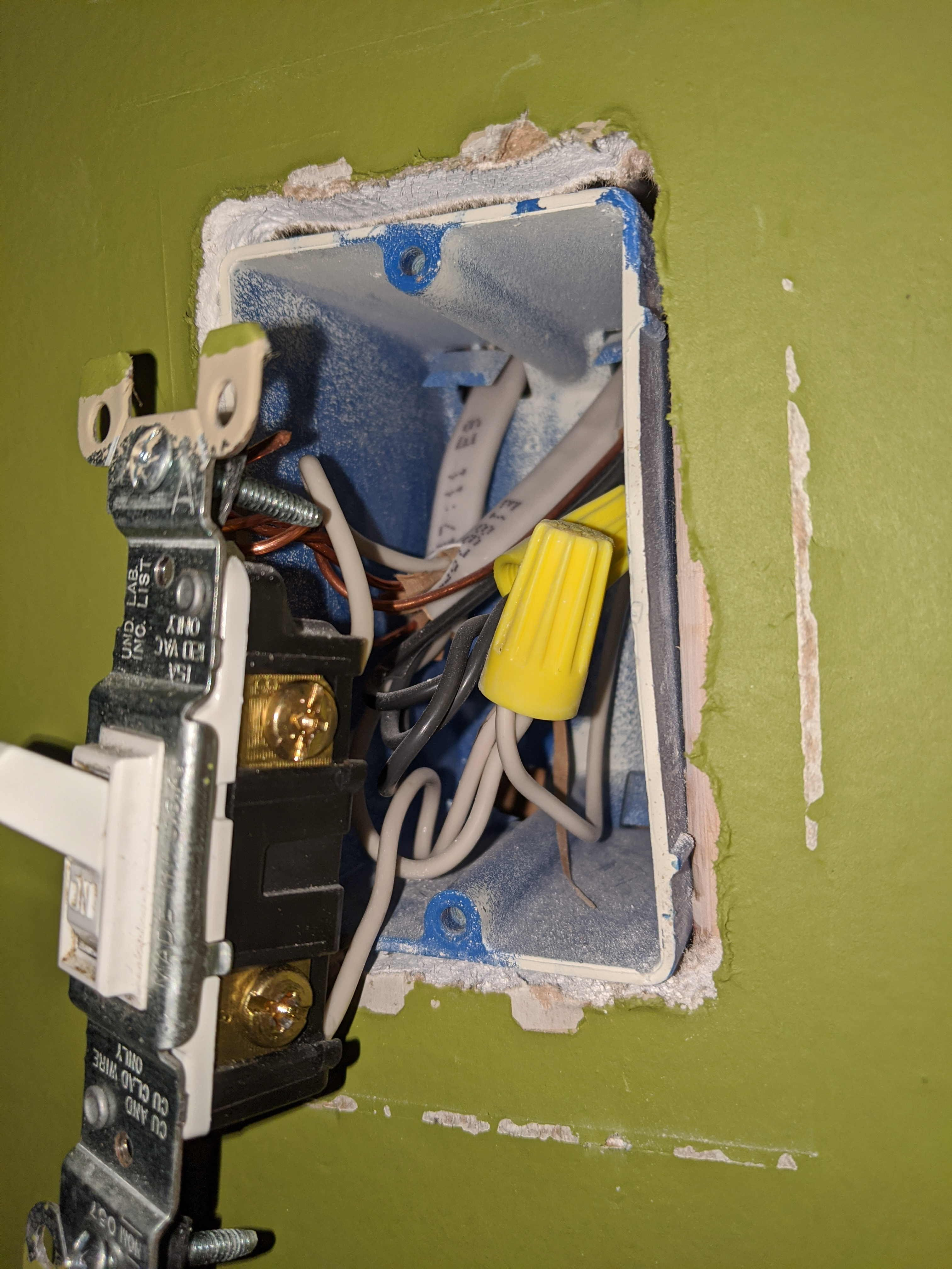 white wires wired to light switch